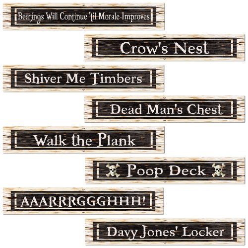 Beistle 54507 4-Pack Pirate Street Sign Cutouts, 4-Inch by 24-Inch