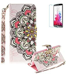 LG G3 Strap Case with Free Screen Protector,Funyye Colourful Print PU Leather Wallet Stand Full Body Protection Case Cover Skin - Colorful Petals