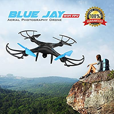 U45 Blue Jay WiFi FPV Quadcopter Drone w/ HD Camera, Altitude Hold, and Live Video Plus Remote Control | For Aerial Photography, Easy to Fly for Expert Pilots & Beginners | Great Gift Idea by Force1RC