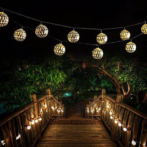 victec outdoor 16ft 20 led dual modes solar string lights. Black Bedroom Furniture Sets. Home Design Ideas