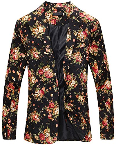 LATUD Men's Vintage Floral Print Slim Fit Separate Jacket Blazer Suit Black