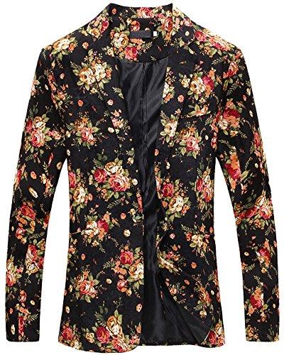LATUD Men's Vintage Floral Print Slim Fit Separate Jacket Blazer Suit Black