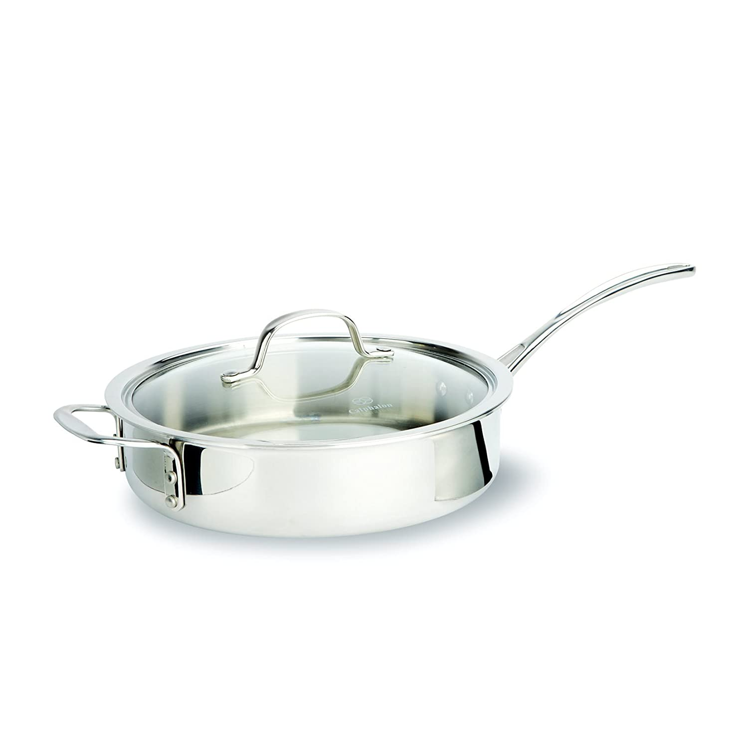 calphalon triply stainless steel 13piece set includes 8inch 10inch and 12inch omelette pans 112 and 212quart covered sauce pans 3quart covered - Calphalon Tri Ply Stainless Steel
