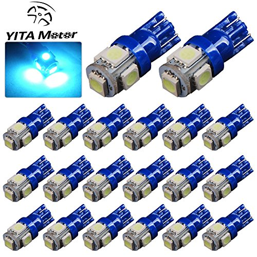 YITAMOTOR 20 PCS T10 Wedge 5-SMD 5050 Ice Blue LED Light bulbs W5W 2825 158 192 168 194 (Ice Blue Motorcycle Lights compare prices)