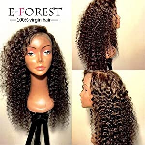 E-forest hair 7A Virgin Indian Remy Human Hair Curly Full Lace Wig Natural Color Baby Hair 130% density(18 inch)
