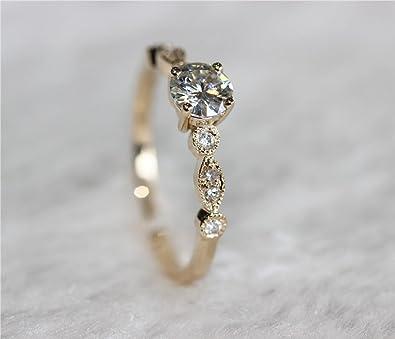 VogueGem Hot Art Deco VS 5mm Moissanite VS Accent Diamonds 14ct Yellow Gold Engagement Ring