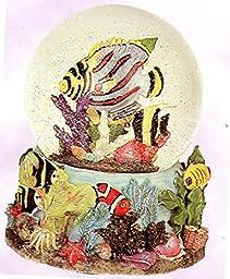 Tropical Fish & Ocean View Snow Globe - Sculptured Resin Water Ball Music Box 5 3/4\