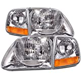 Ford F-150/Expedition Lightning-Style 4-Piece Headlights w/Headlight Bulbs Installed