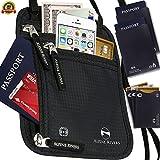 Neck Wallet Travel Pouch & Passport Holder RFID Blocking + Extra Bonus Sleeves