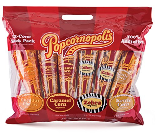 Popcornopolis Gourmet Popcorn 12 Cone Snack Pack (Popped Popcorn Variety Pack compare prices)