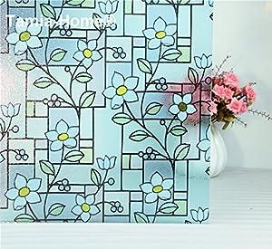statische Fensterfolie Universal Sichtschutzfolie selbstklebend Blaue Blumen (90*2000m)   Kundenbewertung und weitere Informationen