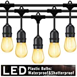 Outdoor String Lights Led 48 Ft,Waterproof Commercial Grade Heavy Duty Connectable Edison String Light with 15 Vintage Bulbs and 1 Spare Bulb UL listed,String Lighting for Patio Garden Wedding Party (Color: Warm White(LED), Tamaño: 48FT)