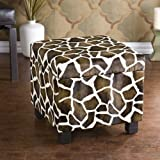 Faux Leather Storage Ottoman - Giraffe Print
