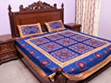 Royal-Blue Gujarati Bedspread with Hand-Embroidery All-Over - Pure Cotton