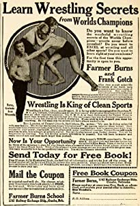 1920 Ad Farmer Burns 1747 Railway Exchange Building Omaha Nebraska Wrestling - Original Print Ad