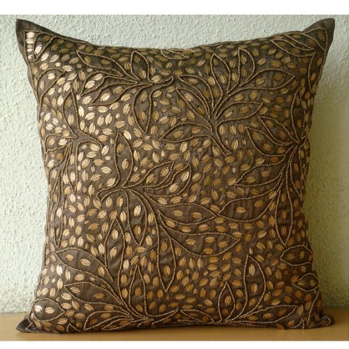 Gold Leaves - 16X16 Inches Square Decorative Throw Brown Silk Pillow Covers With Sequins & Beads Embroidery front-423921