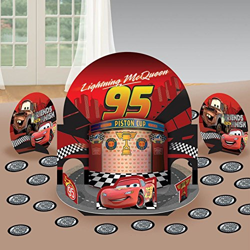 """Amscan Dashing Cars Table Decorating Kit (17 Piece), Bright Red, 12 7/8"""""""
