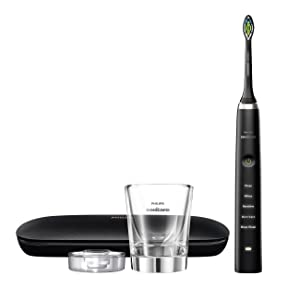 Philips Sonicare Diamond Clean Classic Rechargeable  5 brushing modes, Electric Toothbrush with premium travel case, Black, HX9351/57, 1 Count (Color: Black)
