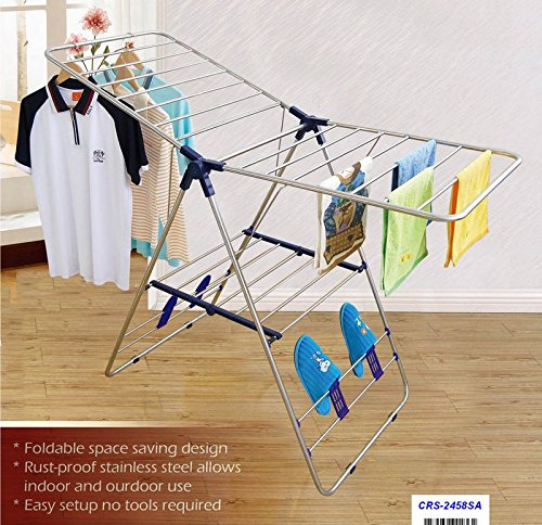 CRESNEL Heavy Duty Stainless Steel Clothes Drying Rack - Rust-proof Guarantee - Premium Quality (Stainless Steel Heavy Duty compare prices)