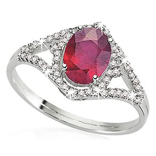 2.06 Carats 18k Solid White Gold Ruby and Diamond Engagement Wedding Bridal Promise Ring Band
