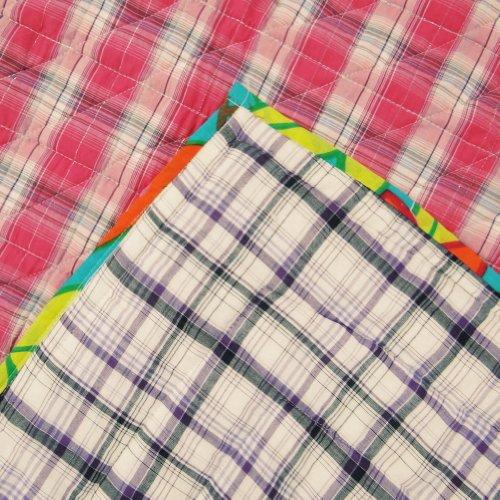Patrón hecho a mano del edredón del bebé Rosa Cuna Tamaño Diseñador Reverssible Colcha Plaid Indian Gudri India 48 X 39 pulgadas