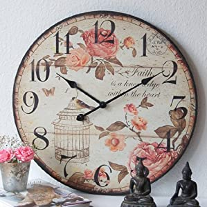 charmante landhaus wanduhr uhr shabby french chic xxl 60cm gro rose vintage. Black Bedroom Furniture Sets. Home Design Ideas
