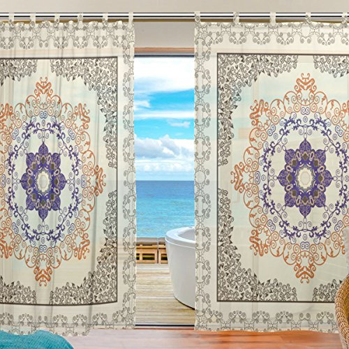 ZOEO Tulle Voile Window Decoration Sheer Curtain,Paisley Ornament Festoons Swirls,2 PCS Gauze Curtain Drape Panel Valance 55 x 78 inch (Marvel Window Panel compare prices)