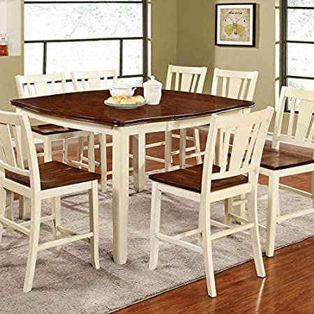 Dover Transitional Style White & Cherry Finish 5-Piece Counter Height Dining Table Set