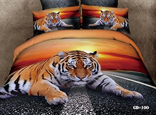 Queen King Size 100% Cotton 7-Pieces 3D King Tiger On The Highway Road Golden Sunset Prints Fitted Sheet Set With Rubber Around Duvet Cover Set/Bed Linens/Bed Sheet Sets/Bedclothes/Bedding Sets/Bed Sets/Bed Covers/ Comforters Sets Bed In A Bag (Queen) front-731584