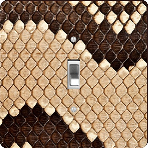 Rikki Knight RK-LSPS-9264 Photo Of Snake Wavy Mosaic Leather Texture Design Light Switch Plate Cover