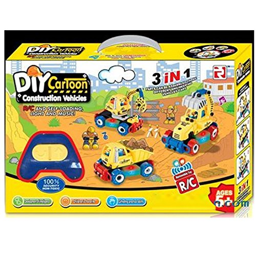 MEDca Take A part 3-in-1 Remote Control Construction Vehicles W/lights and Sounds
