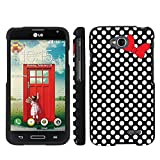 Mobiflare LG Optimus LGl90 L90 Black/White Polk-a-Dots with Bow Slim Guard Protect Artistry Design Case