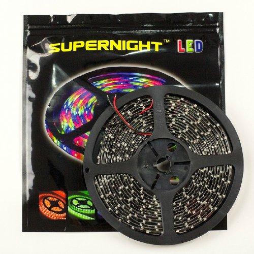 Supernight(Tm) Green Cuttable Led Ribbon, Black Pcb Smd 3528, 16.4Ft(5M), 60Leds/M, 300 Leds, Waterproof, Diy Decoration Led Strip, Festival Lighting front-61473
