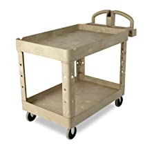 Rubbermaid Commercial FG452088BEIG Heavy-Duty Service Cart with Lipped Shelves, Medium, Beige