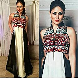 Maruti Creation Women's Georgette Semi-stitched Anarkali Suit Dress Material (MC1013_FREE_SIZE_BLACK)