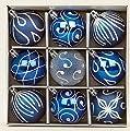 Set of 9 Midnight Blue Christmas tree baubles 6cm