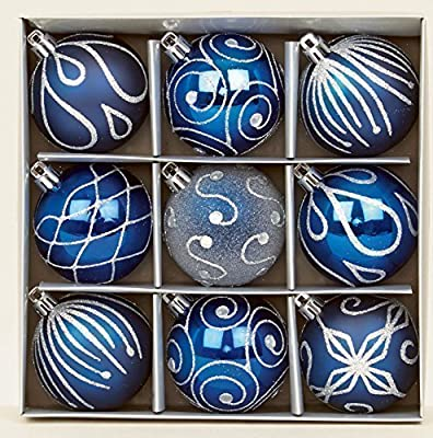 Set of 9 Midnight Blue Christmas tree baubles 6cm