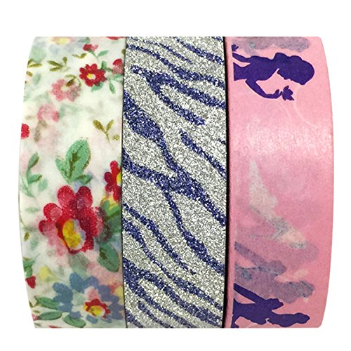 Disney Princess Tape Works Tape & AllyDrew Flowers / Glitter Washi Tapes (set of 3)