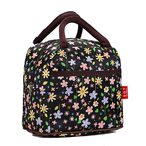 Exquisite Compact Printed Lunch Bag Picnic Box Lady Cosmetic Bag Satchel Handbag (Little Flower) - 1