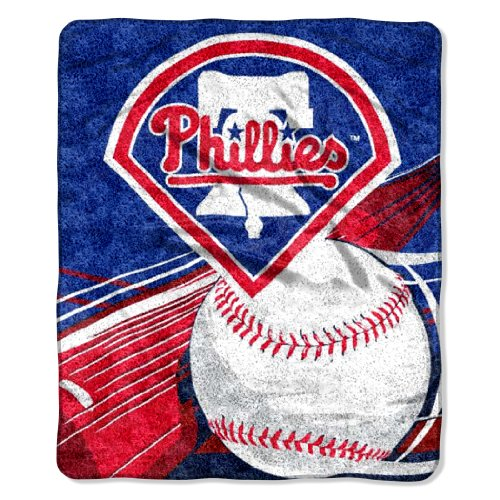 "MLB Philadelphia Phillies 50-Inch-by-60-Inch Sherpa on Sherpa Throw Blanket ""Big Stick"" Design at Amazon.com"