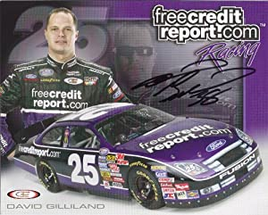 Buy Autographed David Gilliland #25 freecreditreport.com NASCAR Hero Driver Card
