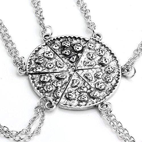 Top Plaza Unisex Women's Men's Antique Silver Pizza Slice Pendant Friendship Necklaces, Pack of 6