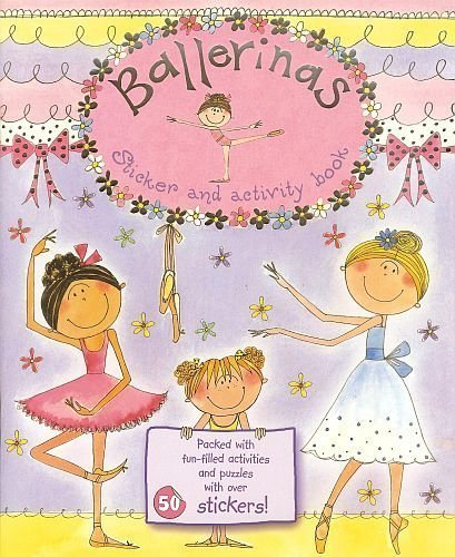 "BALLERINAS Sticker & Fun-Filled Activity Book! Dot to Dots, Mazes! Puzzles! 11"" X 8"" 18 High Quality Pages (2 of 50+ Stickers!!) - 1"