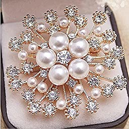 Crystal Brooch Lapel Pines Fashion Women Wedding Dress Hijab Pins Jewelry Rhinestone Large Brooches - Gold