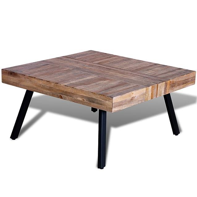 Festnight Tavolino Laterale Tavolino per Cafè Quadrato in Legno Anticato di Teak