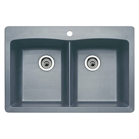 Blanco 440219 Diamond Equal Double Bowl Kitchen Sink, Metallic Gray Finish