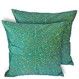 CushionArt Seesan 18x18in Throw Pillow Cushion Cover - Curly Green - Set of 2