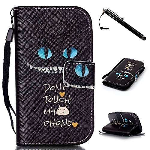 S3 Mini Case,Galaxy S3 Mini Case,Eerie Cat Face PU Leather Flip Wallet Protective Soft Skin Case with Magnetic Flap Closure for Samsung Galaxy S3 Mini i8190(Built-in Credit Card/ID Card Slot) (Samsung S3 Mini Case Cat compare prices)