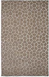 Area Rug, Silver Geometric Cotton Carpet, 5-Foot X 8-Foot