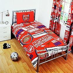 アーセナル フットボールクラブ Arsenal FC オフィシャル パッチ 掛け布団カバー・枕カバーセット サッカーべディングセット (イギリスシングル) (レッド)